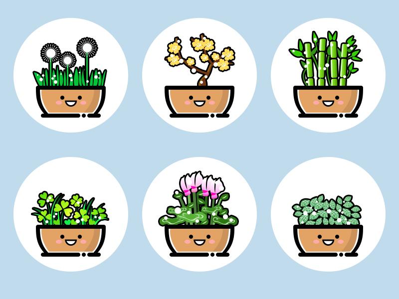 plants(06) illustration logo plant icon flower design cute