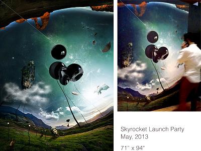 Skyrkt launch party print  surreal digital art print