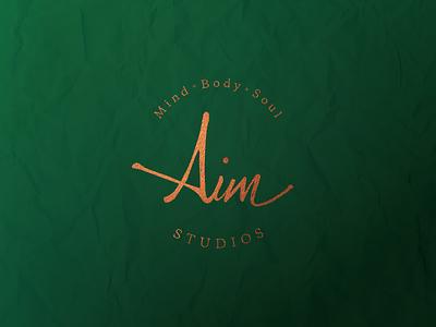 Aim Studios Logo & Identity - WIP green brand identity handwritten lettering colliography logo