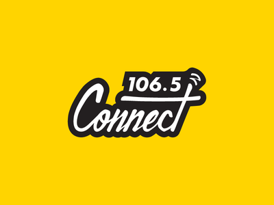 Connect Fm retro vintage calligraphy media identity radio wordmark lettering logo