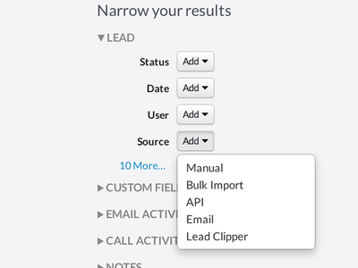 Narrow your results crm close.io bootstrap search filters