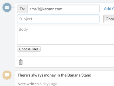New Email Form crm bootstrap email form sales closeio activity timeline