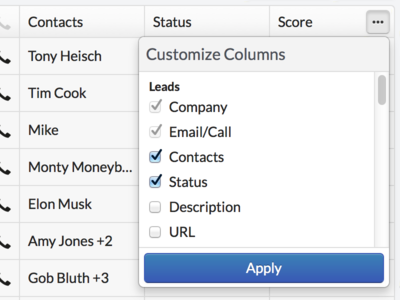Customizable Columns Search Results search columns table dropdown customize bootstrap web ui