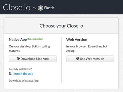 Choose Your Close.io web download mac windows webdesign crm