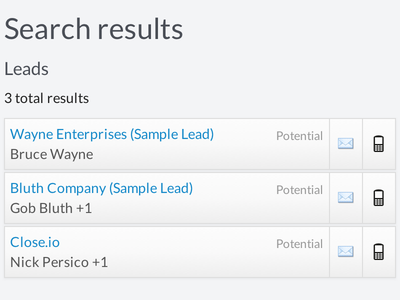 Search Results leads crm calling email search results web