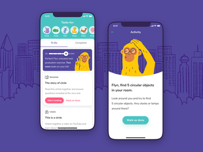 Kidappolis – Learning App for Kids school learning procreate vector illustration banana button progress tasks android mobile monkey kids app ux ui ios