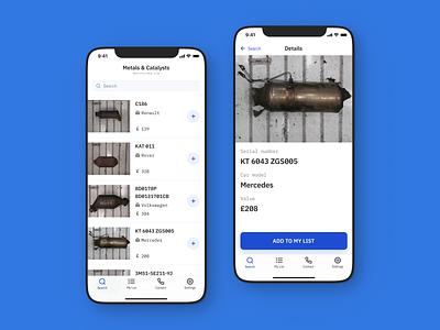Metals & Catalysts Recycling LTD – App Design android minimal app design user interface app ux ui ios