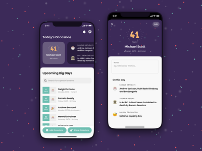 Big Days – Birthday Reminders App mvp clean ux ui confetti android ios flutter mobile app reminders reminder celebration anniversary birthday