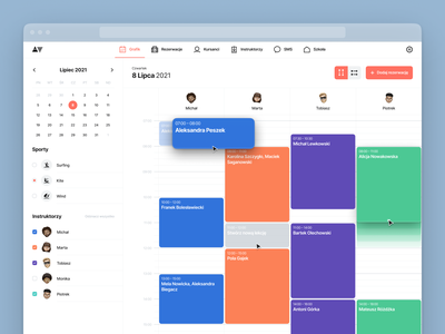 Hypers – Schedule View desktop dashboard crm dashboard crm software crm management hypers web snowboard surfing drag and drop sport ui design date time timesheet timetable schedule calendar