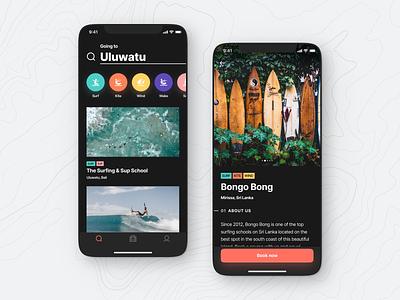 Hypers Mobile App – Search + School Details Views (Dark Mode) mobile app surfing modern ui ux ios android flutter fresh clean minimal school bali search details search results tags dark mode