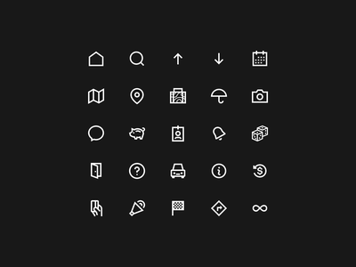 Icon Set, Bold Collection – Vol. 1 minimalism minimal finish umbrella camera history travel log out car map directions profile random piggy bank search home iconography iconset icons
