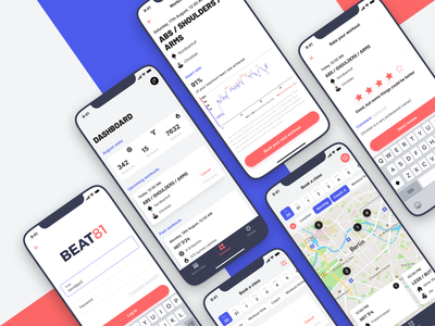 Beat81 – Your gym is around the corner react native mobile app button shadow sport dashboard rating workout gym