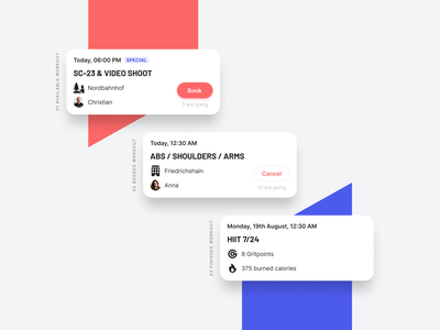 Beat81 – Workout Cards cards ui card cards cell cells book workout booking cancel cancellation mobile shadow light ui user interface design