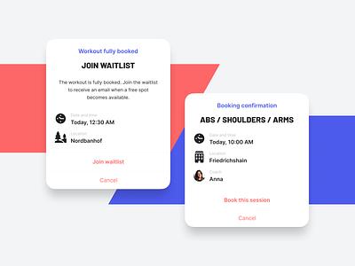 Beat81 – Alerts mobile app workout sports gym app ux ui android ios cards confirm confirmation dialog box alerts details waitlist book booking dialog alert