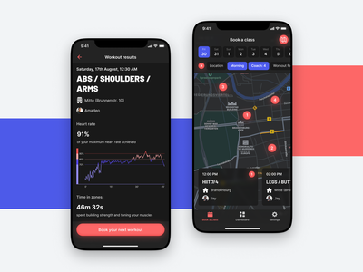 Beat81 – Map View and Workout Results gym app day mode light mode night mode dark mode shadow button map view map results workout gym clean android app design user interface app ux ui ios