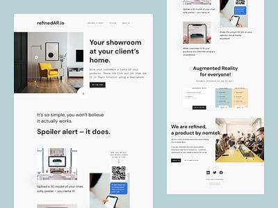 refinedAR – Landing Page furniture interior design minimal webdesign webflow augmented reality ar landing page