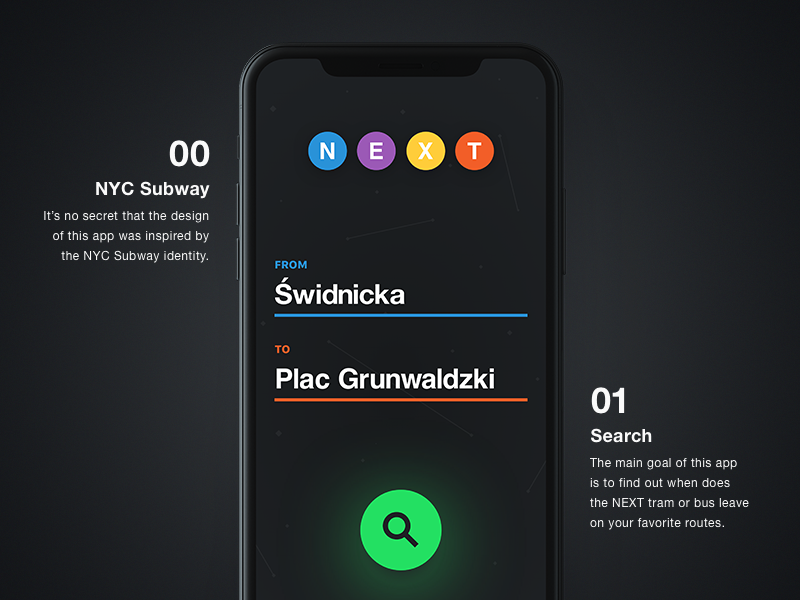 🚊 NEXT – Search Screen new york subway public transport ux ui app design ios iphone x iphone