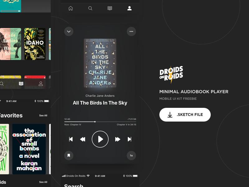 🎧 Minimal Audiobook Player – Night Mode (Sketch Freebie) audiobook player minimal sketch freebie icons ui ios iphone night mode dark mode minimalism