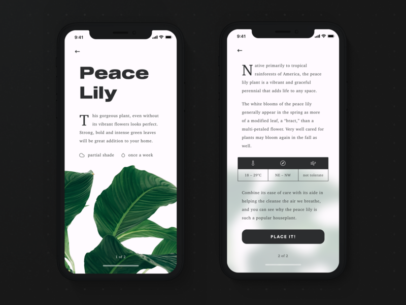 🍃 Plants: Details Screen flower plant app design user interface minimal iphone x app ux ui ios