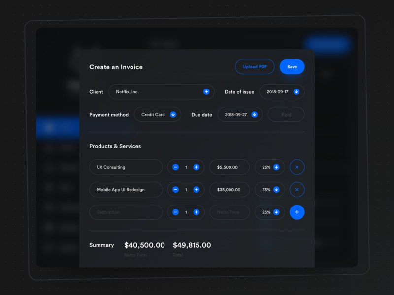 🗂 Bookkeeping App: Create an Invoice invoice design bookkeeping minimal dark ui dark mode ios user interface ux ui management create form invoice