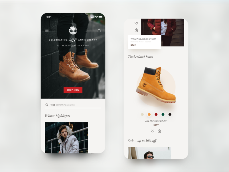 Timberland – Concept Mobile Store iphone x rwd web ios app android app mobile timberland user interface design ux ui app concept app shopping ecommerce