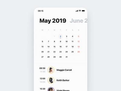 🏄🏻♂️ Calendar View (Light Mode)