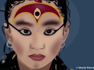 Kumari Face Vector Art