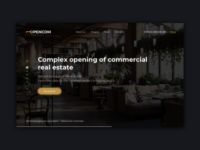 Opencom - Main screen luxury construction style gold key open branding ux ui landing web