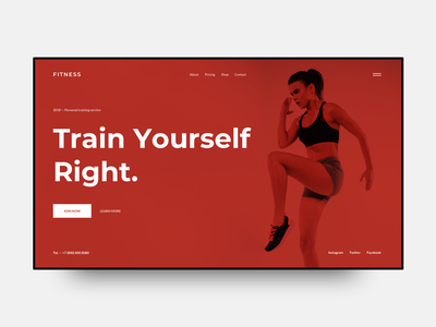 Fitness Landing red gym training woman website webdesign web ux ui sketch interface inspiration grid fitness design dailyui clear clean