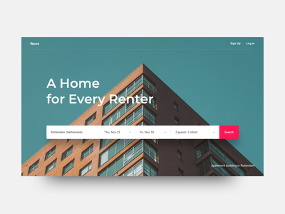 Rent ux ui web booking book clear sketch grid daily clean rent