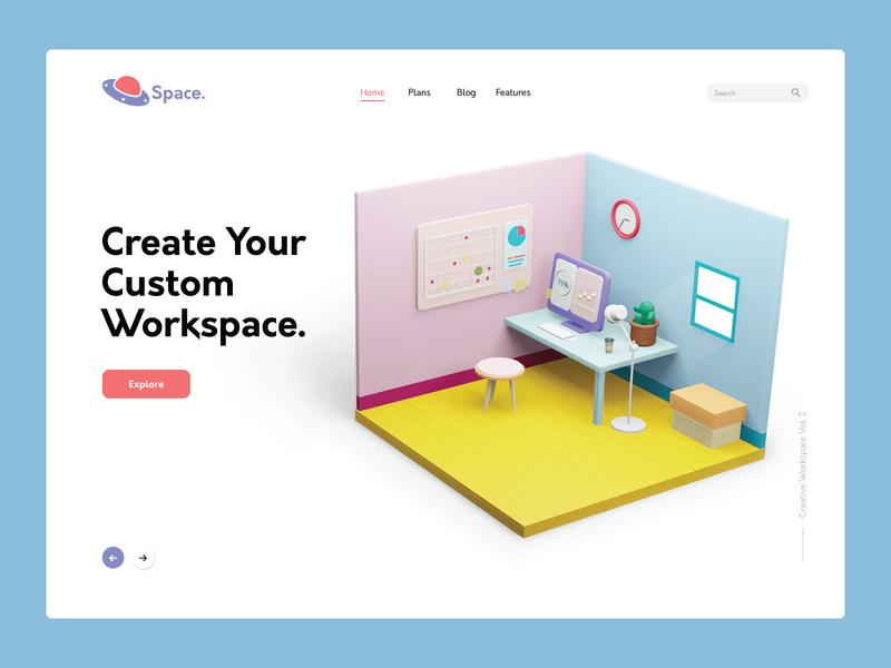 Workspace Booking workspace interior blender 3d