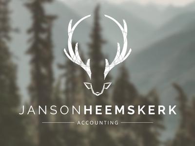 Janson Heemskerk Accounting Logo logo stag dear antlers lines linework inkscape hipster whiskey sigar deer