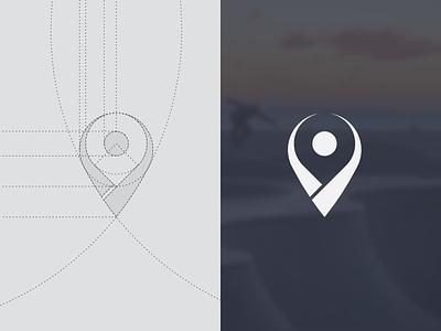 Logo for SpotsDB affinity inkscape board pin icon skate spotsdb map identity vector construction logo