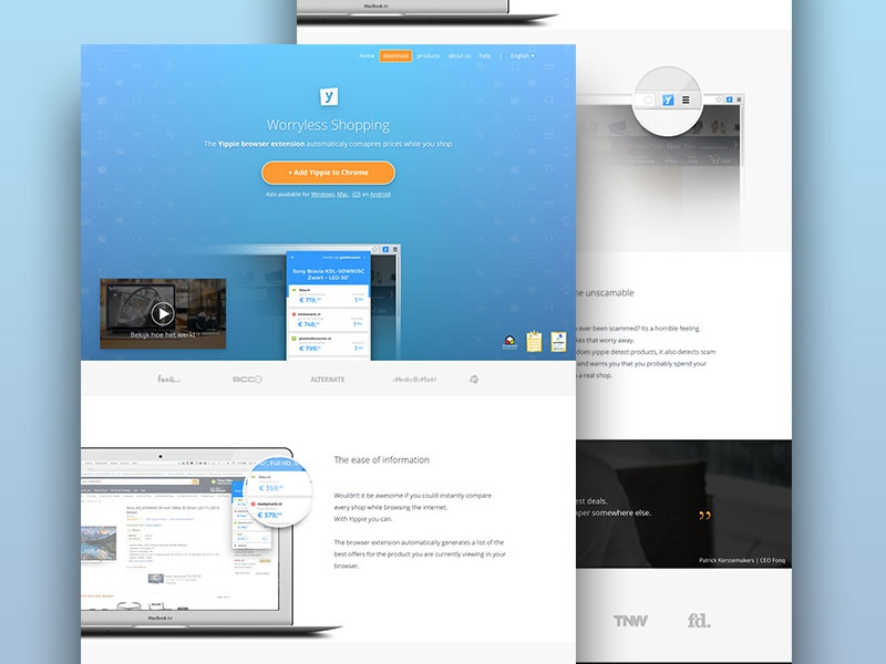 Yippie website V4 page landing app sketch landingpage extension website yippie
