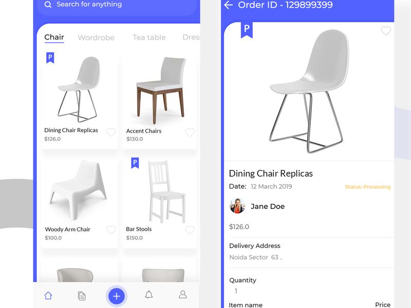 Furniture Shopping App shop ecommerce interface design design application design shot furniture shopping cards ui