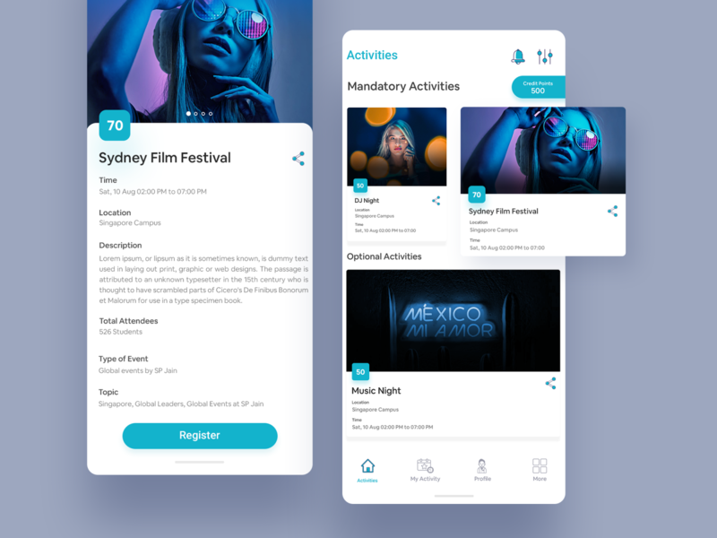 Event App UI Sample application app ux ui vibes location credits activities share cards event app event