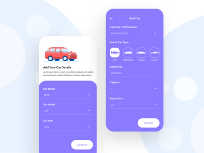 Automobile App Design gradient interaction daily ui illustration collapse animation animation techugo automobile car app interface design app ui cards expand
