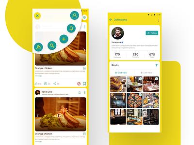 Food Blogging App social network social grid blog application ui colors card uidesign concept food app food feeds icon fab menu design