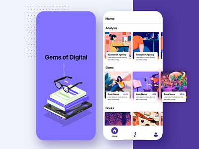 Book Gallery App Design uxdesign carddesign techugo uidesign uiux mobileapplication app mobileapp booksdesign vector minimal navigation bar bottom nav splash illustraion cards