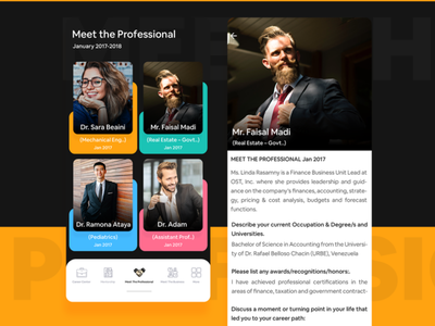 Networking App yellowcolor cards user experience user interface creative uxdesign ui design multiplecolor business mentorship career job detail page meet professional colors card design card ux ui