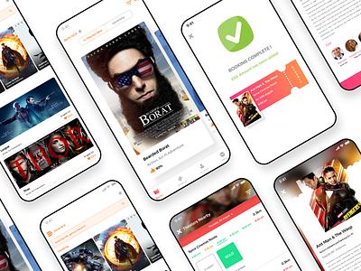 Movie Booking App design ux app ui interface design tabs carousel illustraion gradient ticket booking movie app movies cards