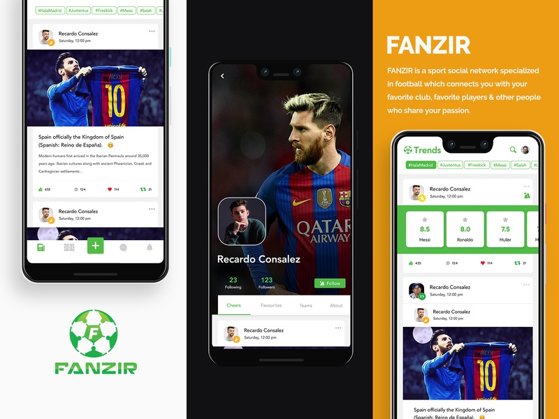 FANZIR -REDESIGN ratings trends messi tabs friends posts feeds social network social sports soccer football application design ux application design interface design cards ui
