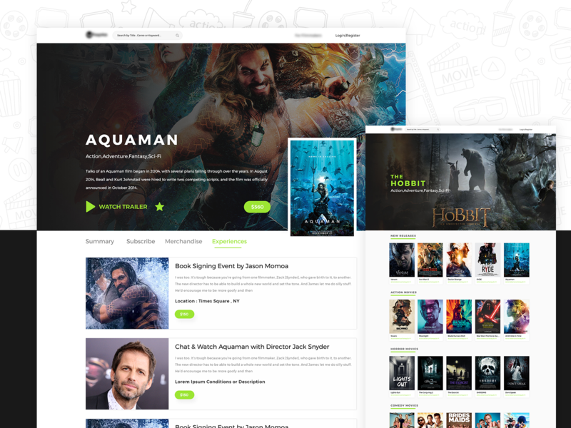 MOVIES & MERCHANDISE -UI DESIGN hero trailer uxdesign design application design interface design web dc marvel aquaman landing page webpanel website movies