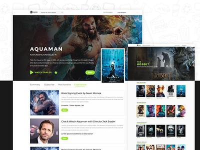 MOVIES & MERCHANDISE -UI DESIGN hero trailer uxdesign design application design interface design web dc marvel aquaman landing page webpanel website movies
