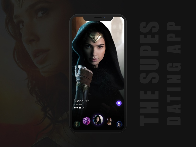 THE SUPES DATING APP like swipe slider carousel dark theme wonder woman marvelcomics marvel dc comics dccomics dc superheroes superhero dating app dating color ux application design interface design ui