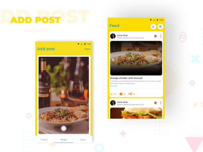 Add New Post social camera app camera reactions photo video gallery feeds post uxdesign color design ux app uidesign application design interface design cards ui