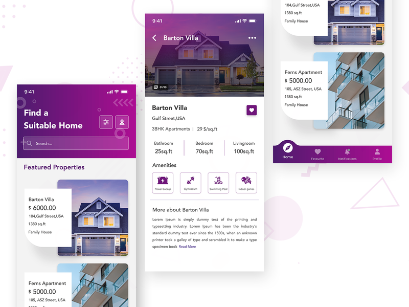 Real Estate App card uiux ui design uidesign application design interface design details page detail page villa amenities builders building home screen homepage houses household real estate flat properties property