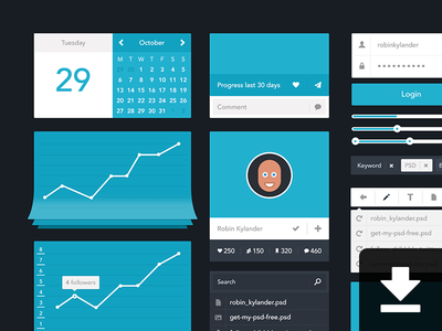 Minimalistic UI - PSD app icon chat psd ui feed flat profile search stats graph download