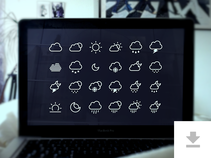 24 Weather Icons - Freebie icons psd weather app ios7 flat clean ui rounded download mockup freebie