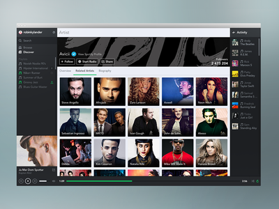 Spotify - Related Artists spotify app music player redesign mac iphone psd ios feed sidebar profile